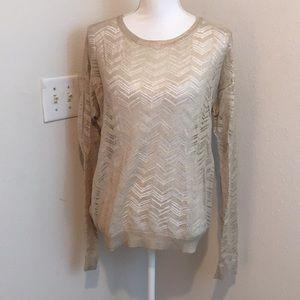 Loft Metallic Gold Sheer Lightweight Sweater